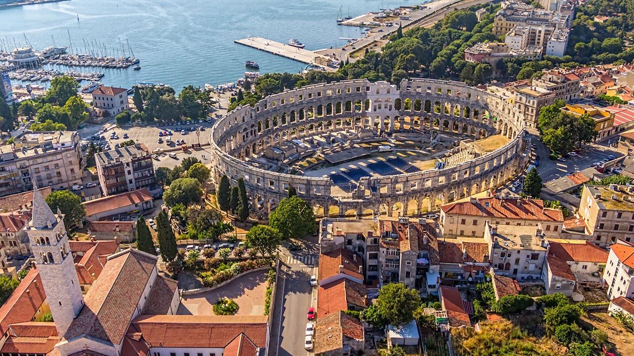Pula Croatia aerial view