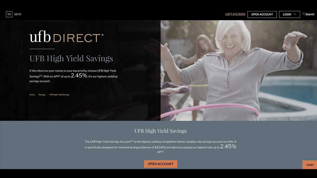 Screenshot of UFB Direct website