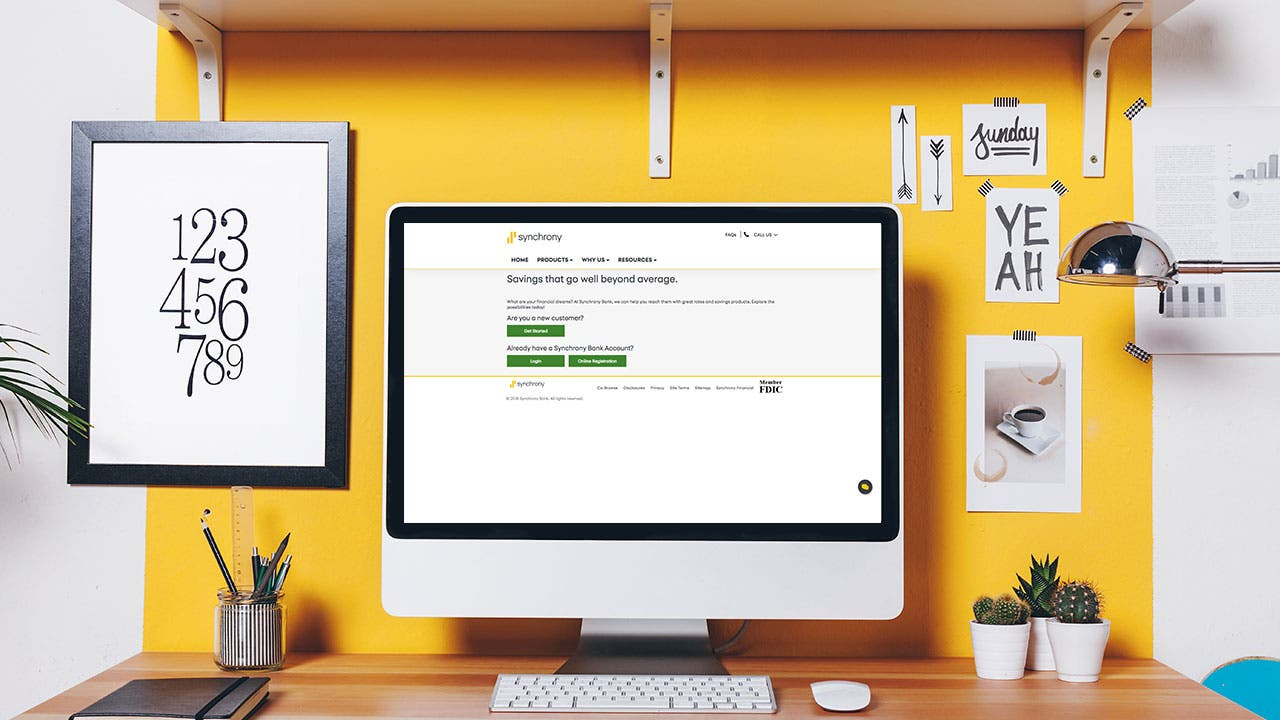 Synchrony Bank website on home office computer