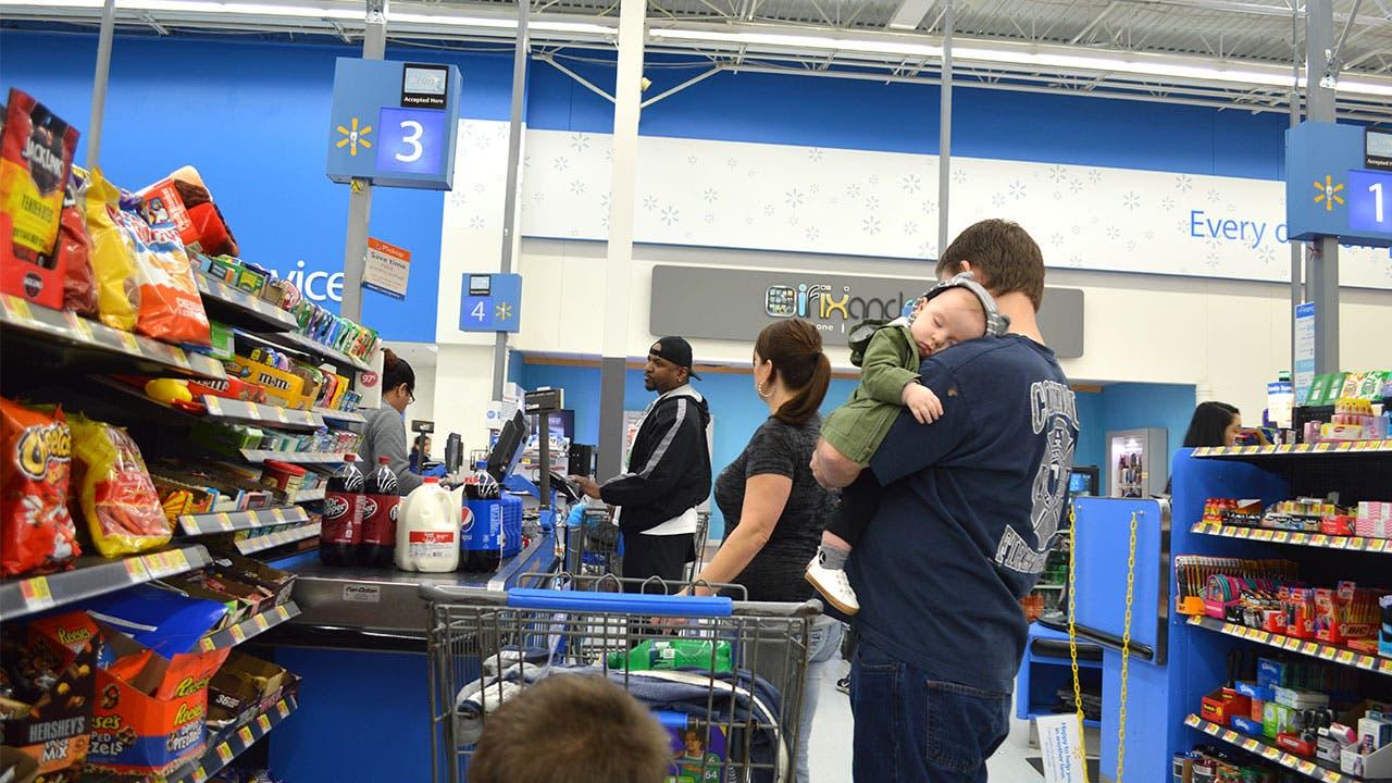 Checking out at Walmart