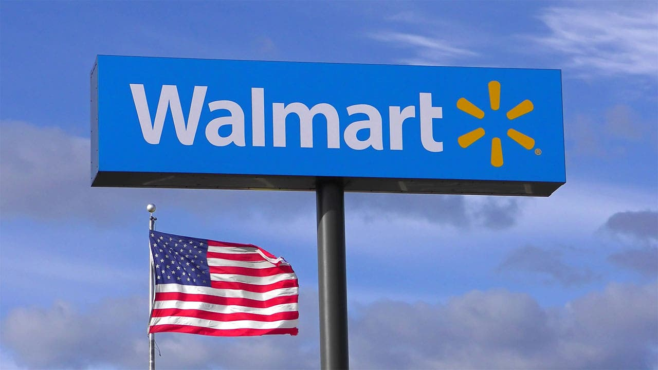 Walmart sign with American flag