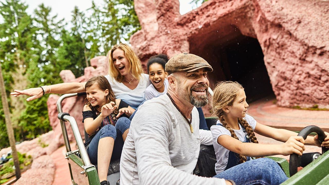 Family on theme park ride