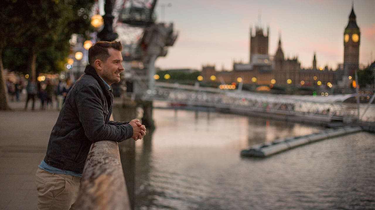 Man looking at Big Ben in London