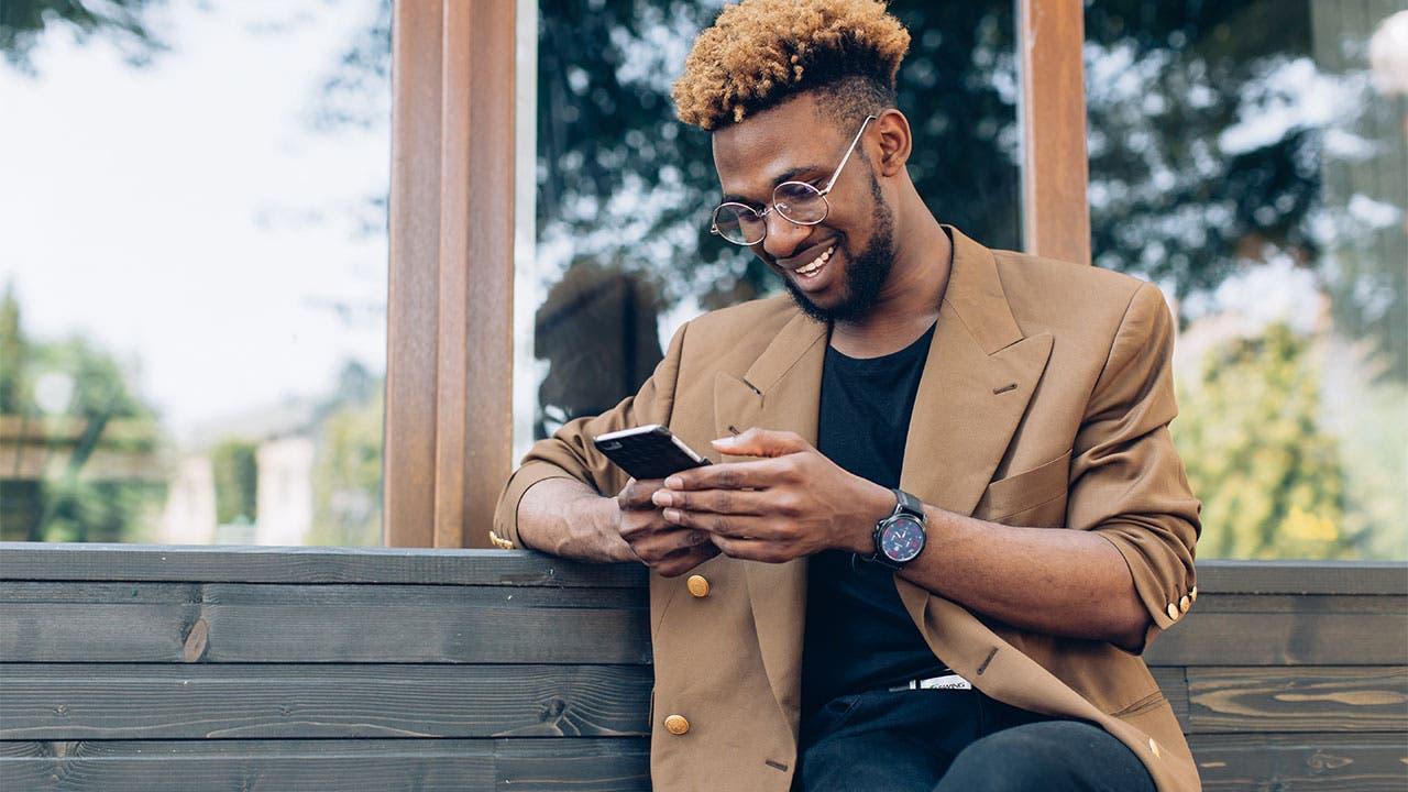 Man using banking app
