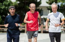 Elderly friends jogging