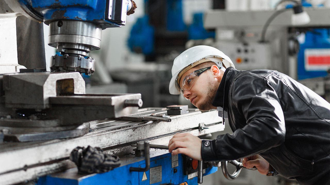 Man in manufacturing plant