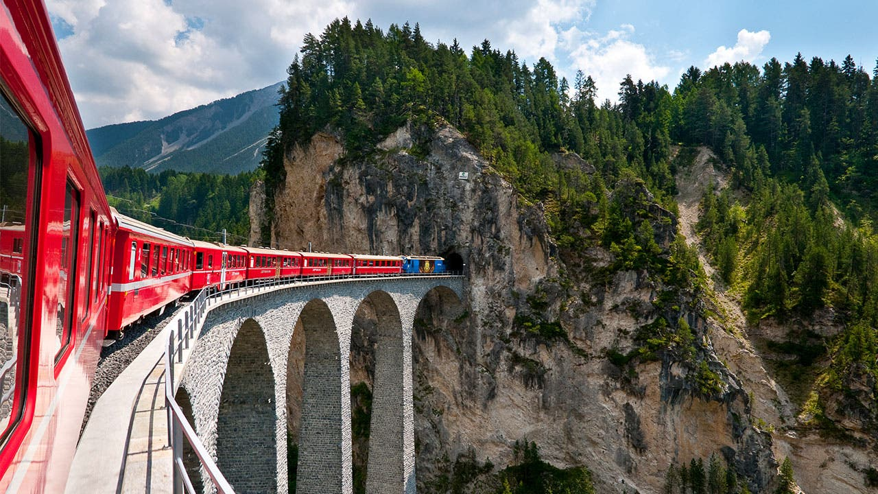 Train going into mountain in Switerland