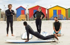 Students learning to surf