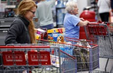 Shoppers checking out at Costco