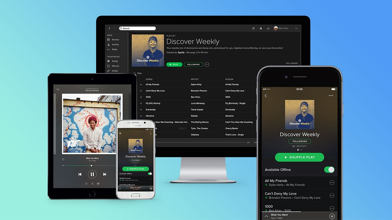 Spotify app on desktops and tablets