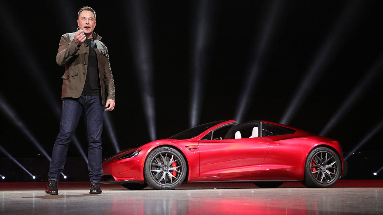 Elon Musk announcing the Roadster at Telsa event
