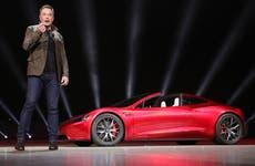 Elon Musk announcing the Roadster at Telsa event