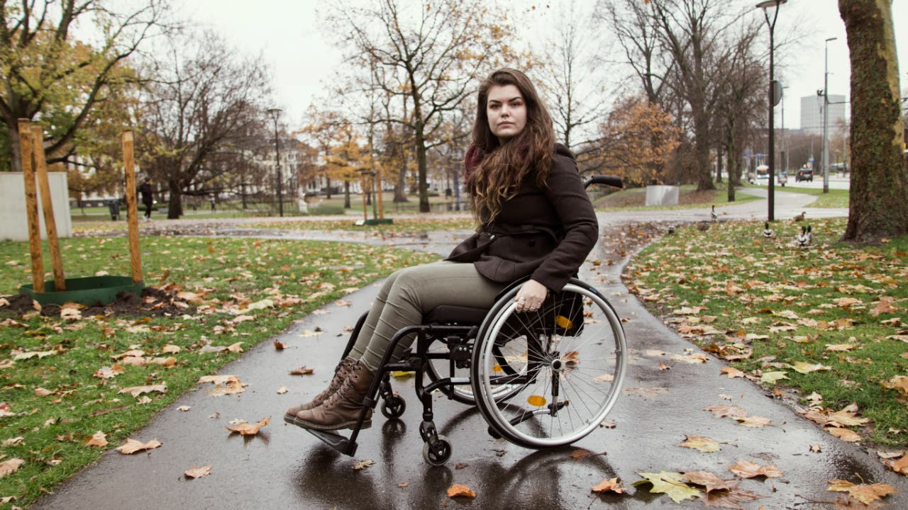 Woman in wheelchair
