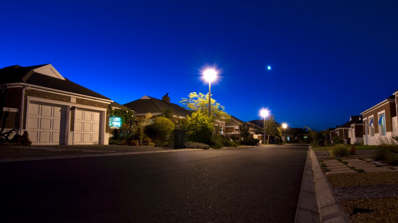 Suburban neighborhood at night