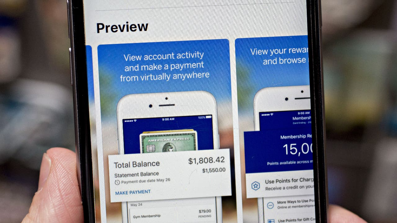 Iphone with Amex mobile app download screen