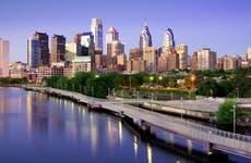 Skyline and highway in Philadelphia, Pennsylvania.