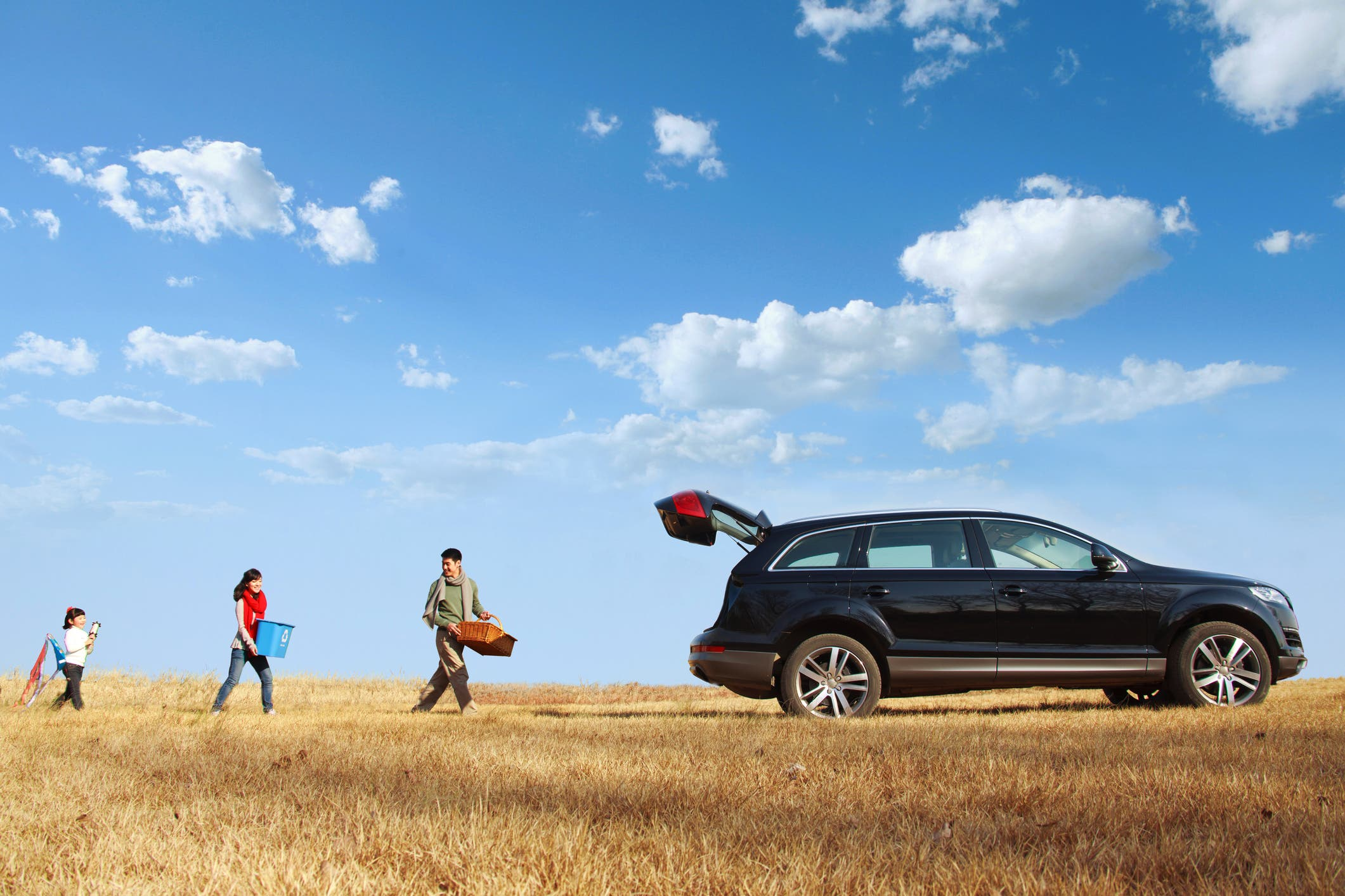 family in a field, car