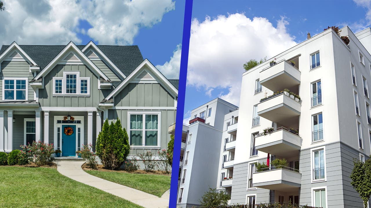 A side-by-side comparison of a condo and a house.