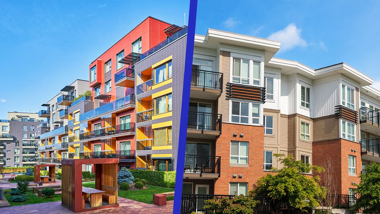 A side-by-side comparison of apartments and condos.