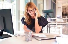 Businesswoman making work phone call