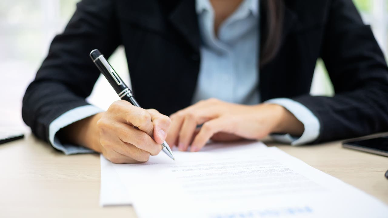 business lady writing