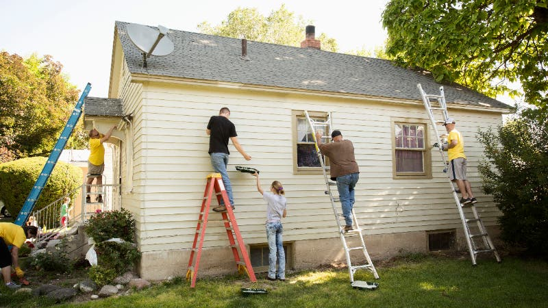 A home being rehabbed and painted