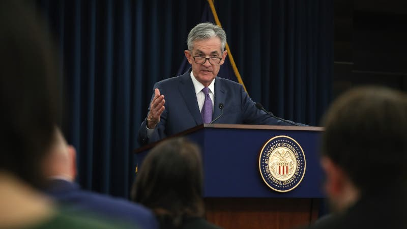 Federal Reserve Chairman Jerome Powell speaks to journalists during the Fed's July 31 post-meeting press conference.