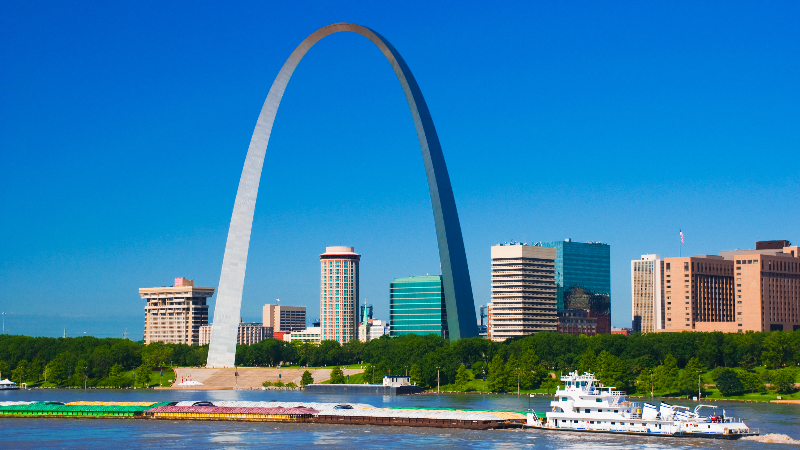 Gateway Arch in St. Louis, Missouri Skyline