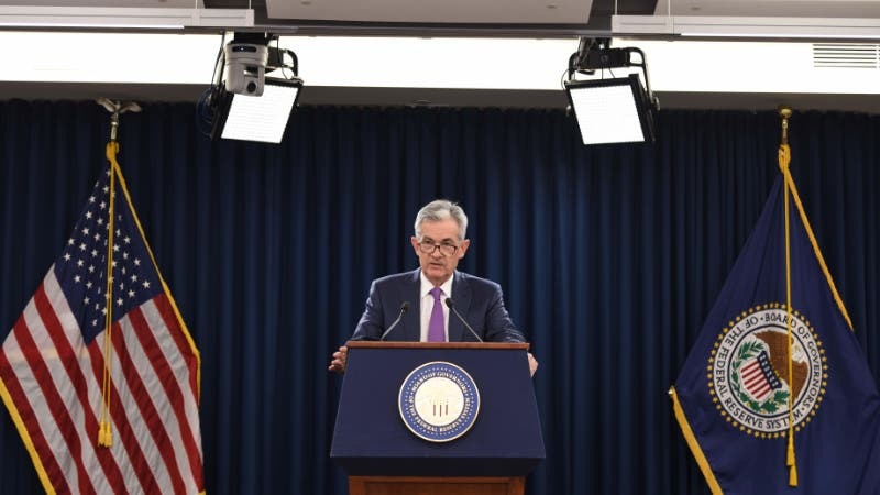 Federal Reserve Chairman Jerome Powell hosts news conference following interest-rate decision.