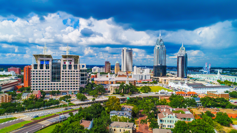 view of Mobile, Alabama skyline