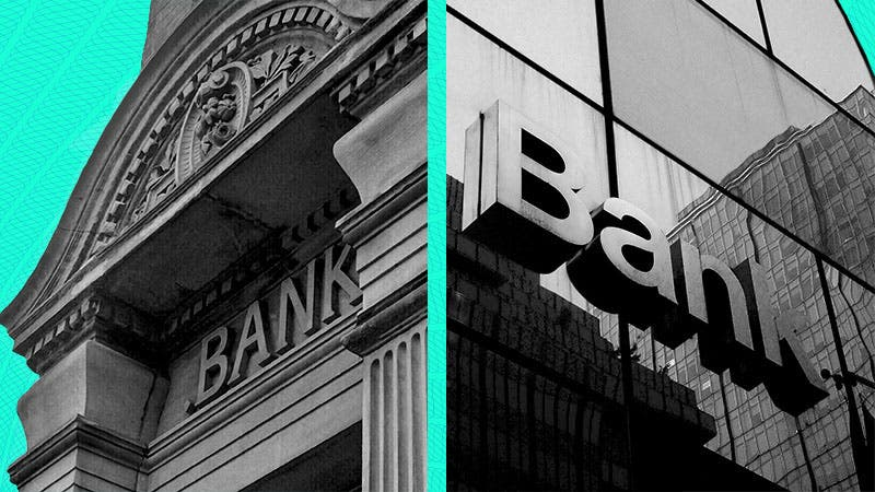 Split image of two banks