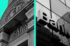 Split image of two banks