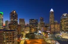 The evening skyline of Charlotte North Carolina all lit up.