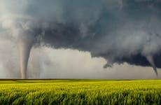 Tornadoes on a field