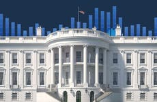 White House in front of a bar graph