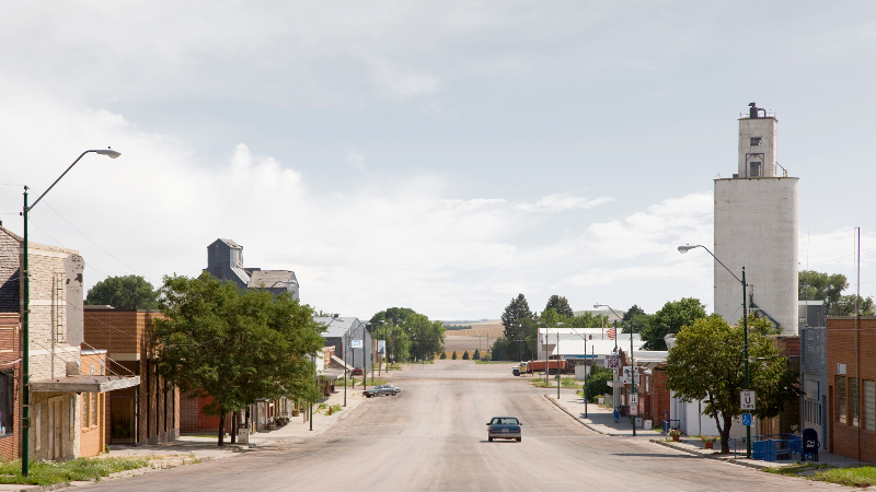 Car driving through downtown Hay Springs, Nebraska