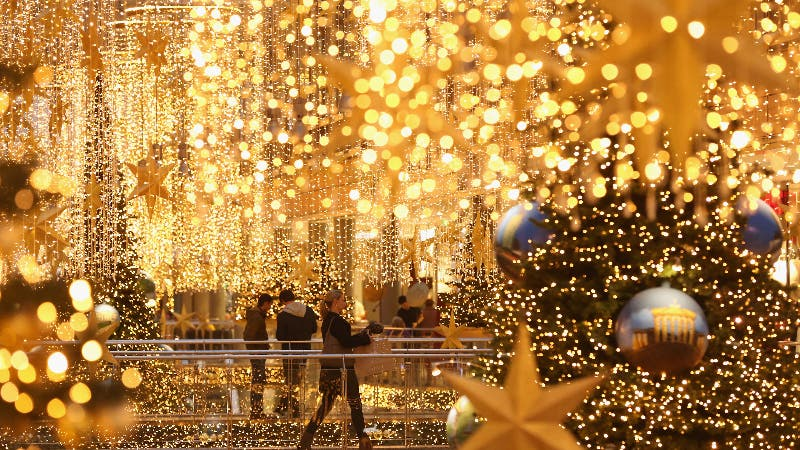 A mall decorated for the holidays.