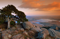 Mountain top view of the wichita mountains at the wildlife refuge in Oklahoma