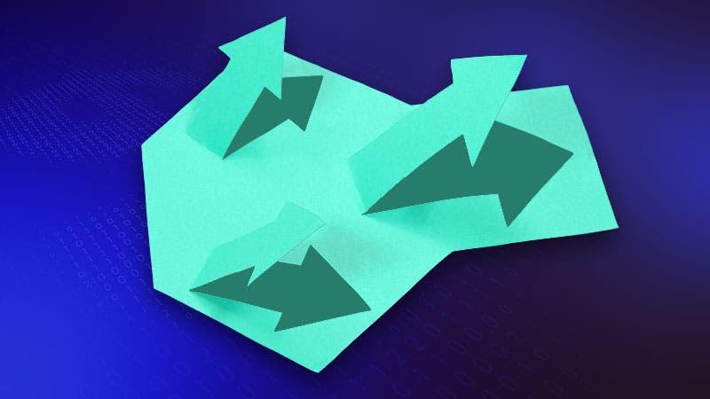 Stock arrows trending up