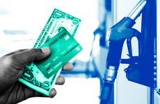 chosing between card and cash at gas pump