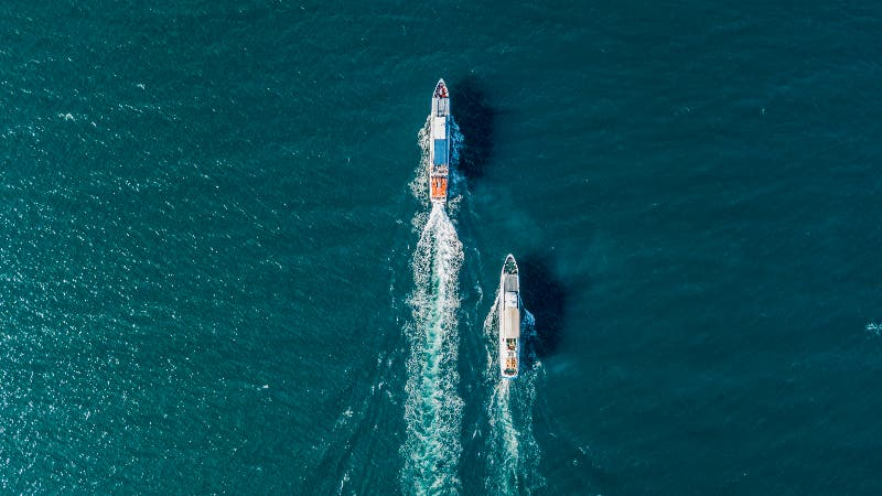 Two ships on the open sea