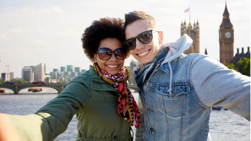 Young couple take a selfie on vacation in London