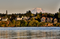 Mt rainier and surrounding homes in Washington State