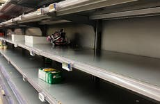 Empty shelves in a grocery store