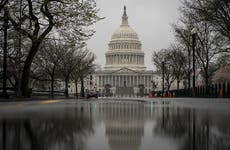 A picture of the US Capitol building on a rainy day