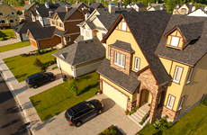 Arial shot of houses in suburbia