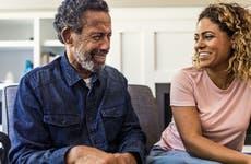 Man and daughter talking