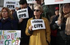 Protestors support the CFPB