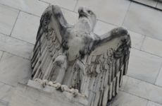 Eagle statue on the Fed's Eccles building
