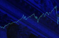 An image of stock prices climbing on a blue background